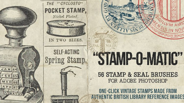 56 Pinceles de sellos y estampillas vintage Stamp-O-Matic
