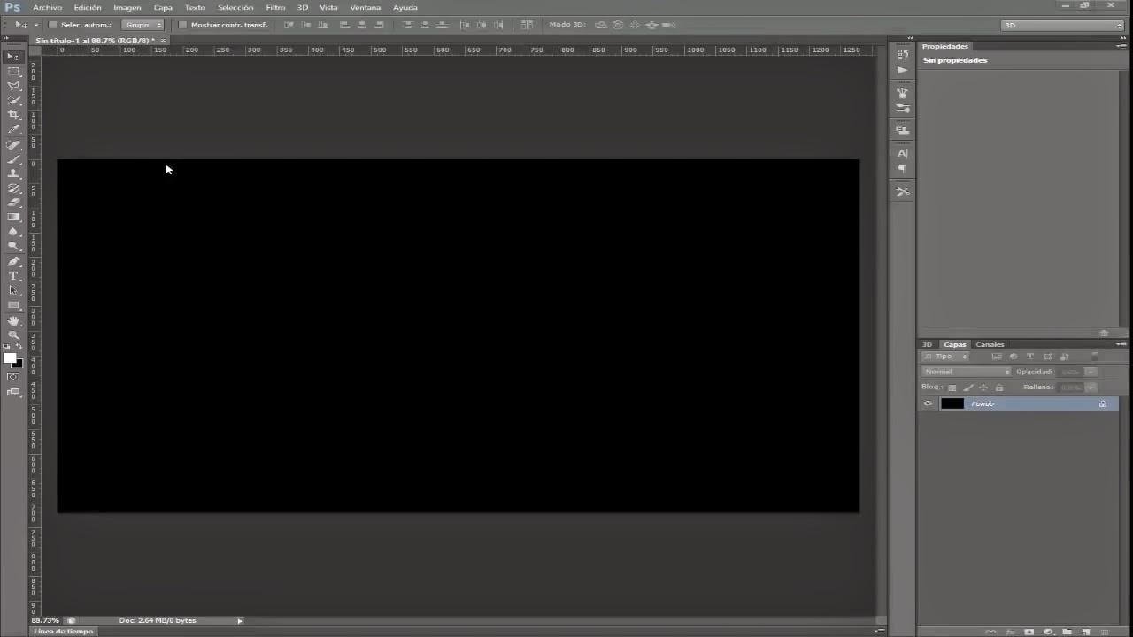 Documento nuevo, relleno de color negro con herramienta cubeta