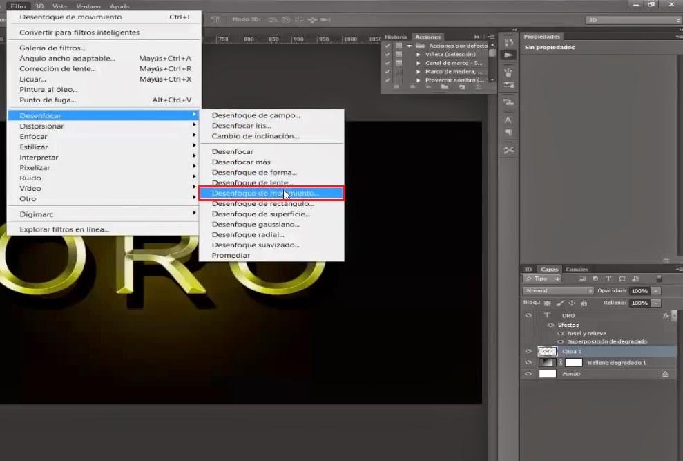 menu filtro desenfoque de movimiento