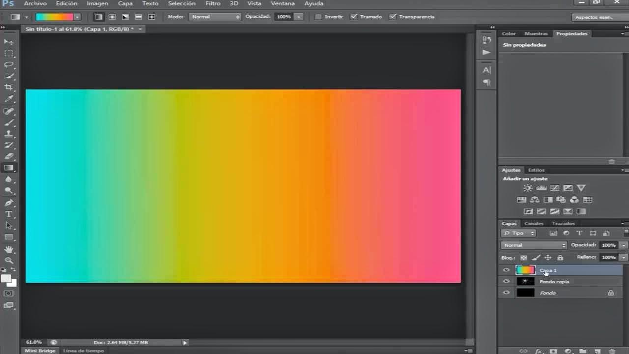 degradado de colores aplicados a la capa