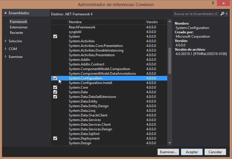 agregar referencia para usar configuration manager