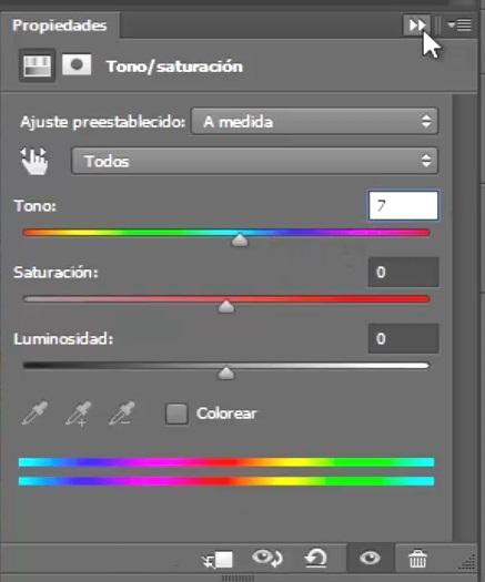ventana tono saturación