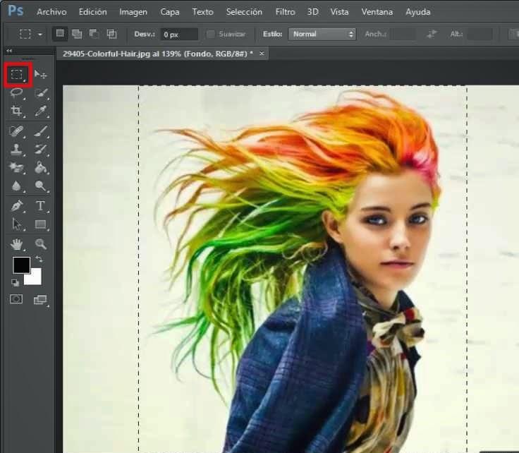 selección de imagen con marco rectangular