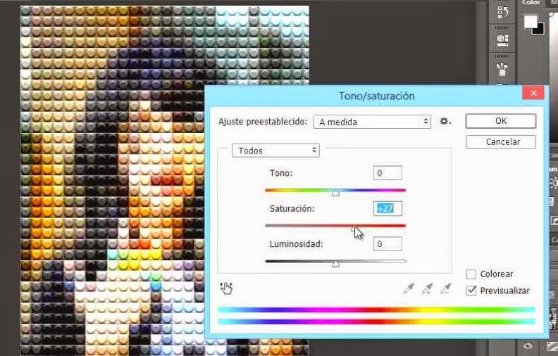 ventana de tono saturación valores saturación +27