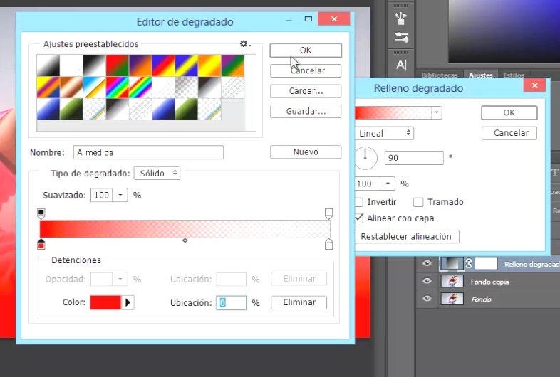 ventana degradado elección de colores