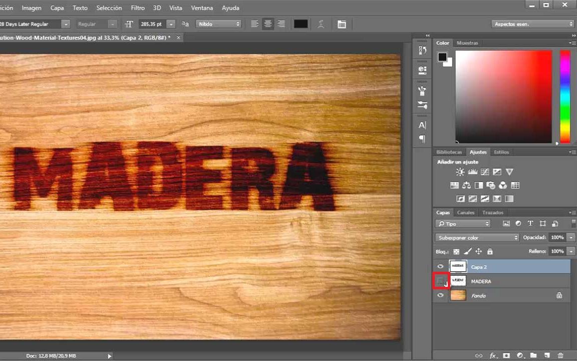 deshabilitar capa madera