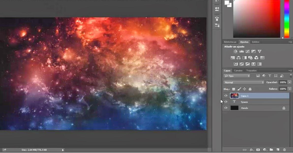 imagen del espacio por encima del texto