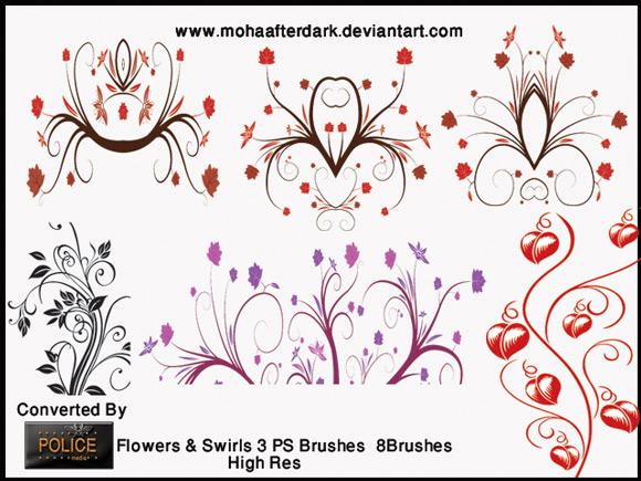 Flowers Swirls Brushes