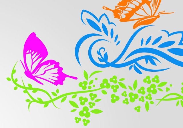 Floral Butterfly & Flowers Brushes Free