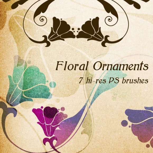 7 Floral Ornaments PS Brushes