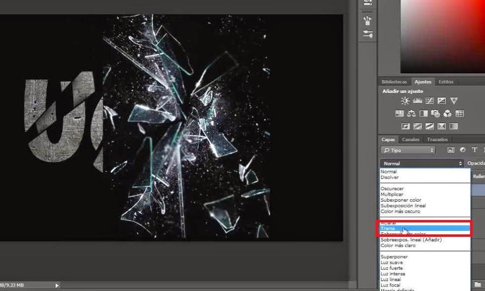 textura de vidrios rotos con modo trama