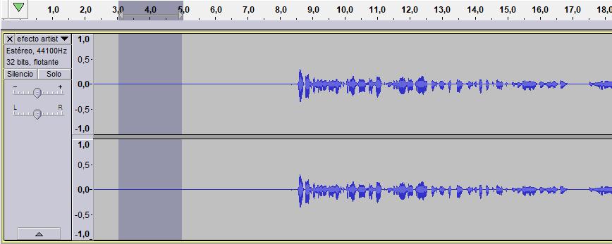 pista de audio en linea de tiempo audacity