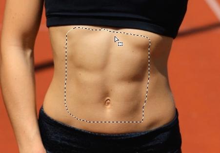 marcar abdominales con photoshop seleccion