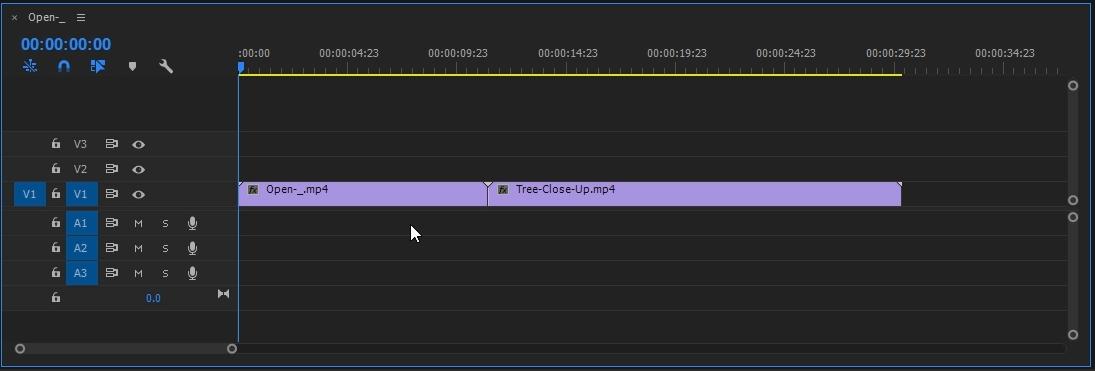 transición animación entrada salida premiere pro línea de tiempo